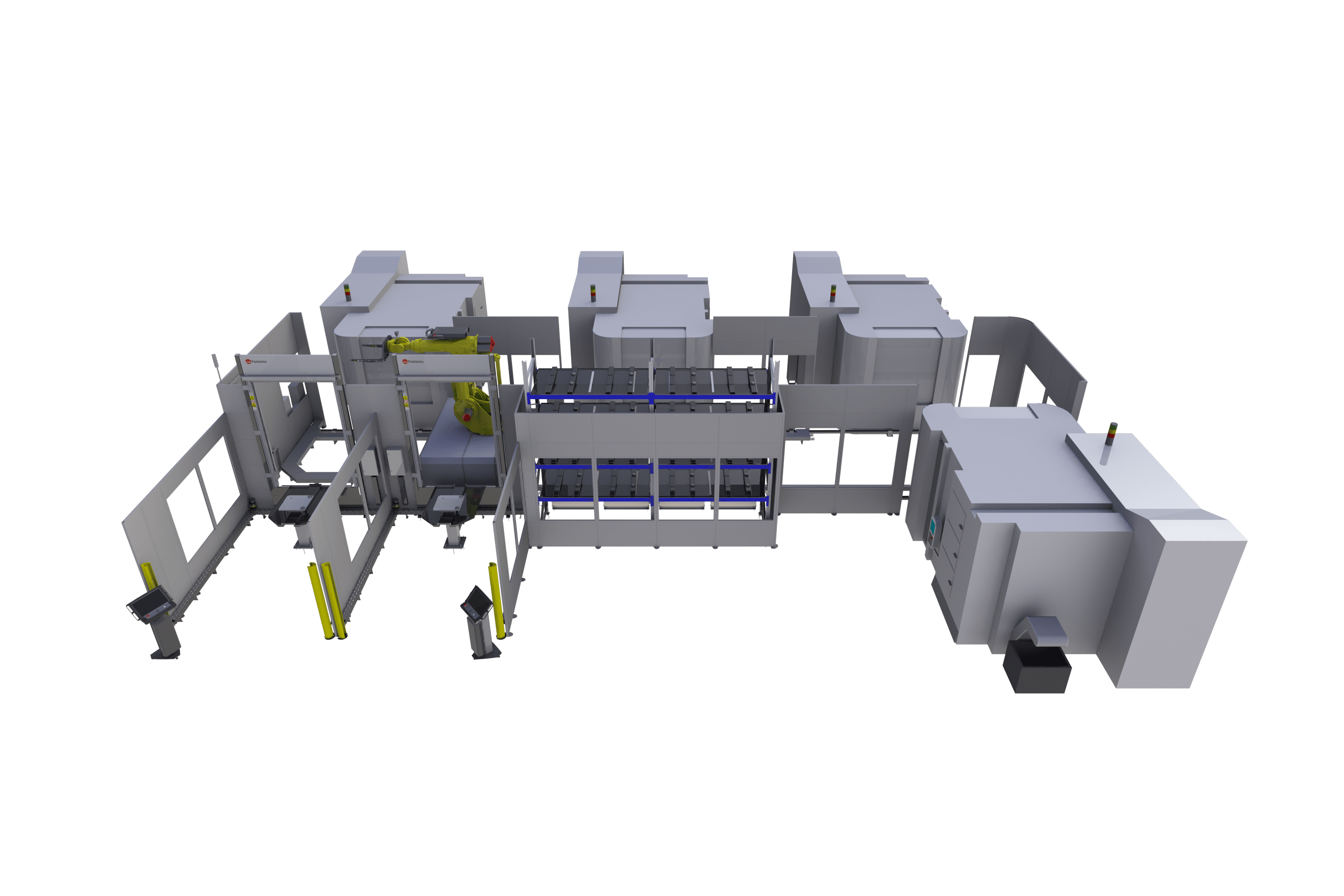 Integrate any 5-axis machines with zero-point or no pallets into one factory automation system.
