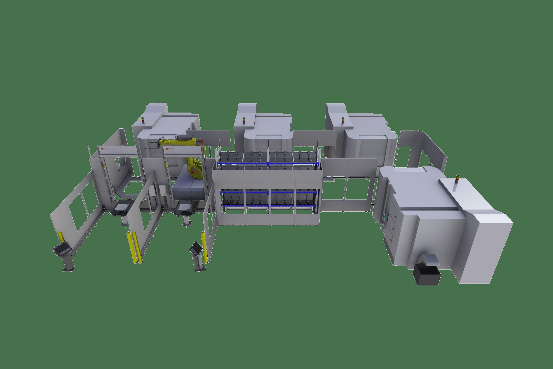 Integrieren Sie beliebige 5-Achsen-Maschinen mit Nullpunkt oder ohne Paletten in ein Fabrikautomatisierungssystem.