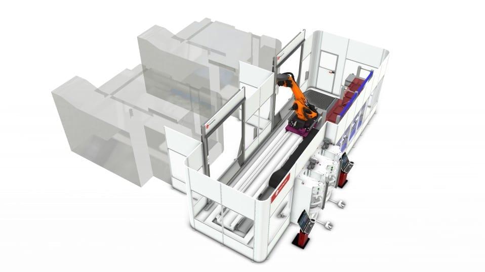 Integrieren Sie 5-Achsen-Maschinen ohne Paletten in ein Fabrikautomatisierungssystem.